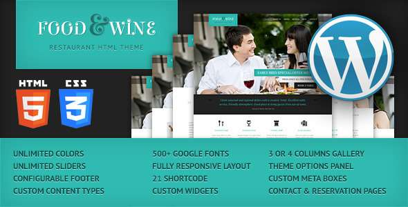 Food & Wine - Responsive WordPress Theme - Restaurants & Cafes Entertainment