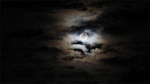 Cloudy dark cool moon wallpaper