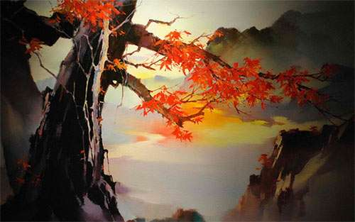 Japanese tree painting wallpaper