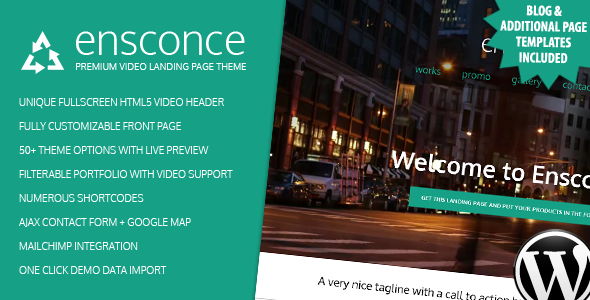 Ensconce - Responsive WordPress Video Landing Page - Entertainment WordPress