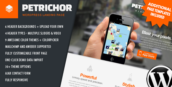 Petrichor - Responsive WordPress Landing Page - Software Technology