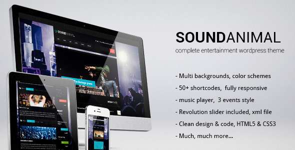 SOUNDANIMAL complete entertainment wordpress theme - Entertainment WordPress