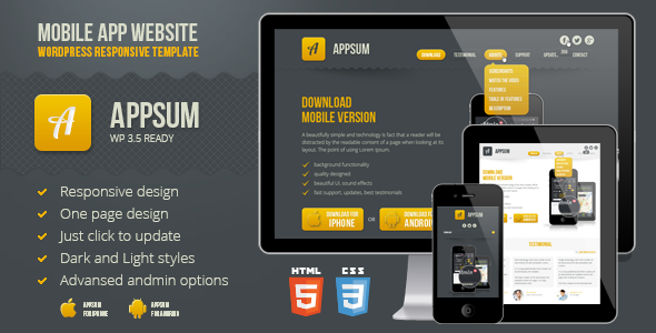 Appsum - wordpress responsive template - Technology WordPress