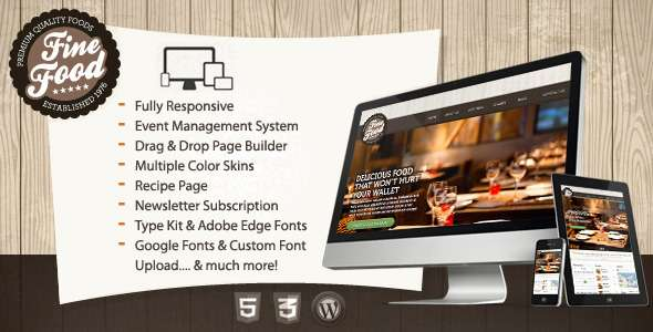 Fine Food - Restaurant Responsive WordPress Theme - Restaurants & Cafes Entertainment