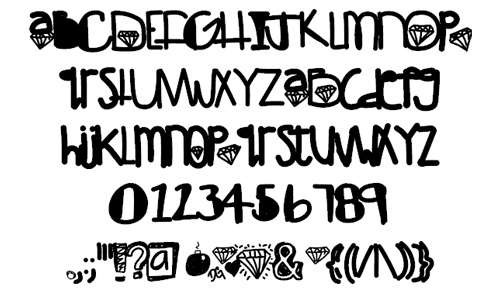 Diamond bold strong doodle fonts sketch free