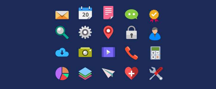 20 Flat Icons by GraphicsFuel