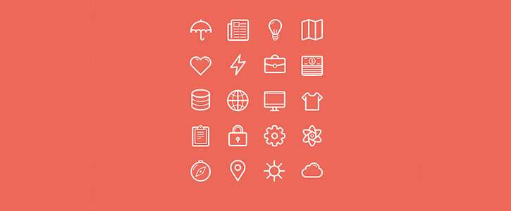 Flat Stroke Line Icons Set Vol 2