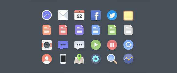 24 Flat Icons by PremiumPixels