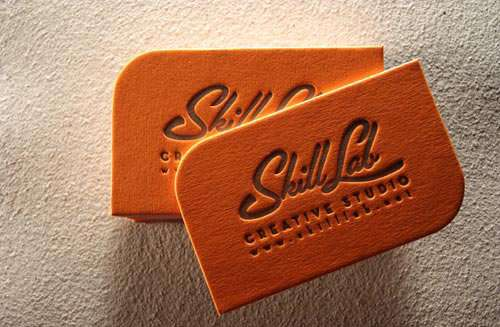 Bold Orange Letterpress Business Card