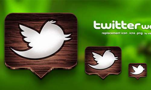 twitter wood icon