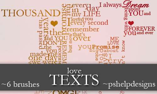 love TEXTS brushes