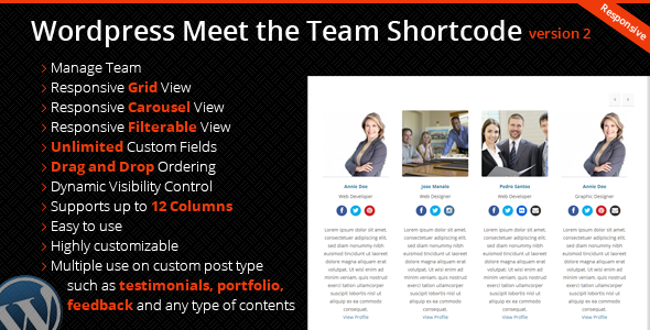Wordpress Meet the Team Shortcode Plugin - CodeCanyon Item for Sale