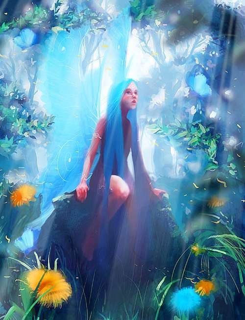 Blue forest fairy illustrations artworks