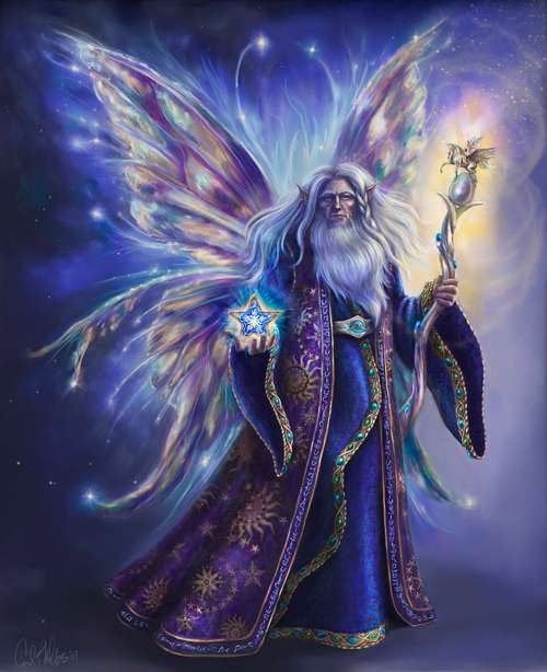 Old elder wizard fairy illustrations artworks