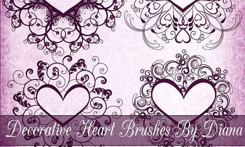 Decorative Heart Frame Brushes