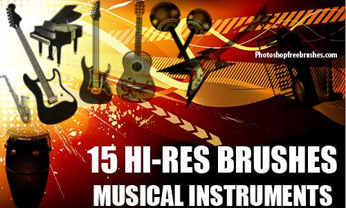 15 Musical Instruments Photoshop Brushes 2