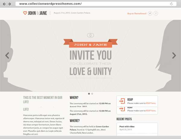012-Wedding - Responsive Single Page WordPress Theme