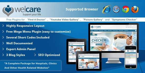Welcare Responsive Medical WordPress Theme - Health & Beauty Retail