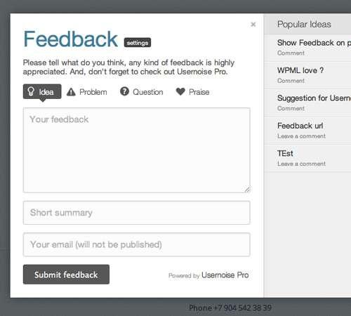 Usernoise Pro advanced Modal Feedback & Debug