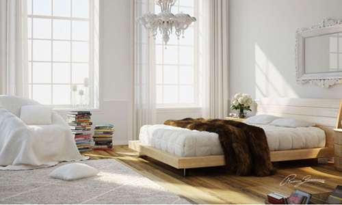 bedroom white and wood