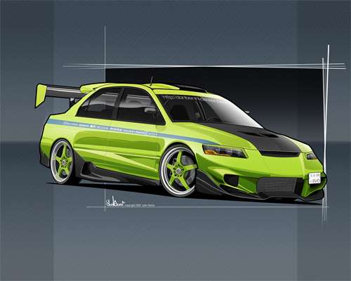 Green mitsubishi cars vexels vectors illustrations