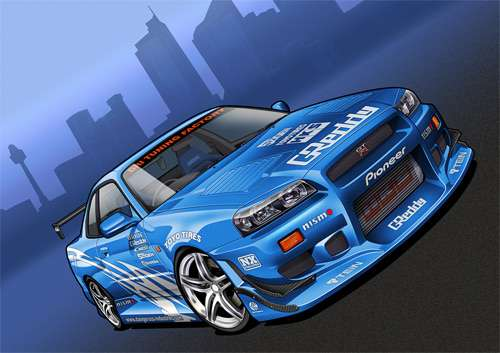 Skyline cars vexels vectors illustrations