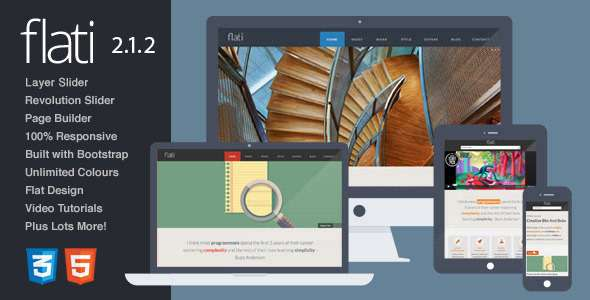 Flati - Responsive Flat Bootstrap WordPress Theme - Portfolio Creative
