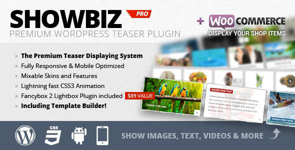 Showbiz Pro Responsive Teaser WordPress Plugin - CodeCanyon Item for Sale