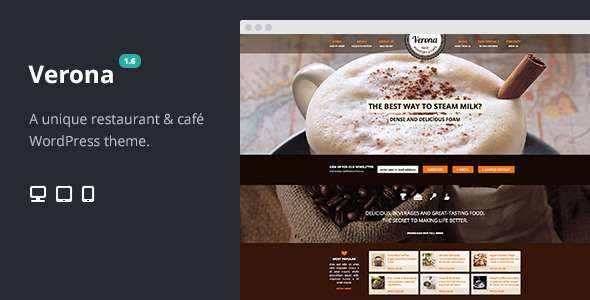 Verona Restaurant Cafe Responsive WordPress Theme - Restaurants & Cafes Entertainment