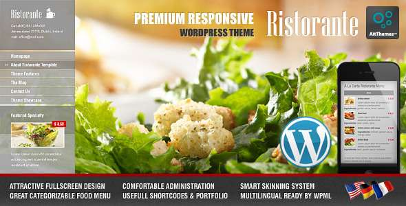 Ristorante Responsive Restaurant WordPress Theme - Food Retail