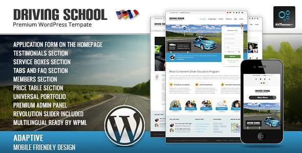 Driving School: WordPress Theme for Small Business - Business Corporate