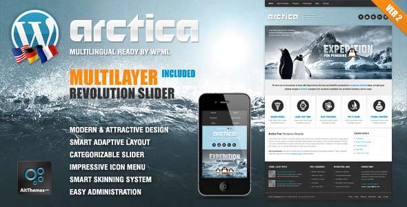 Arctica Responsive WordPress Theme - Travel Retail
