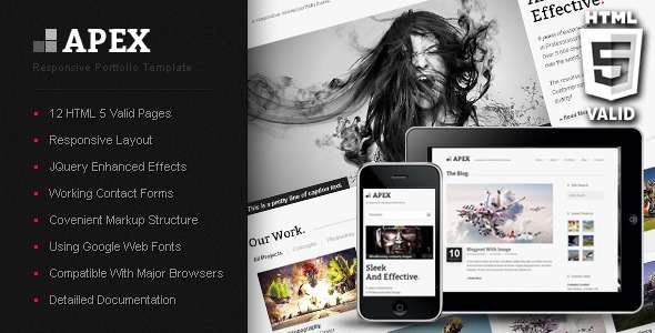 Apex Responsive Portfolio Template - Creative Site Templates