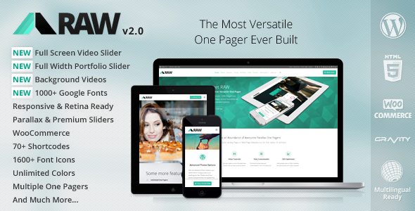 RAW - One & Multi Page Multi-Purpose Theme - Corporate WordPress