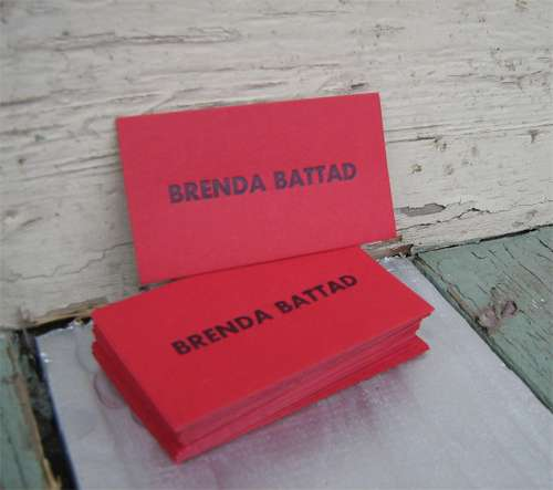 letterpress calling cards in red