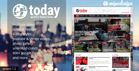 Today - Info News & Magazine WordPress Theme - News / Editorial Blog / Magazine
