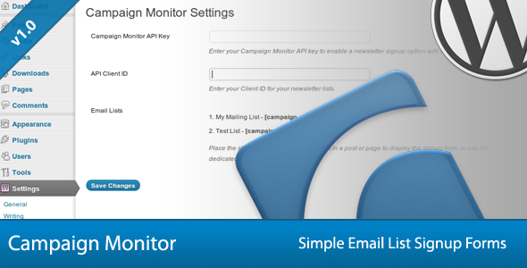 Simple Campaign Monitor Signup Forms - CodeCanyon Item for Sale