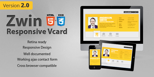 Zwin - Responsive Vcard Template - Virtual Business Card Personal