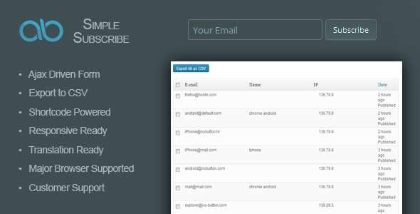 AB Simple Subscribe WordPress Plugin - CodeCanyon Item for Sale