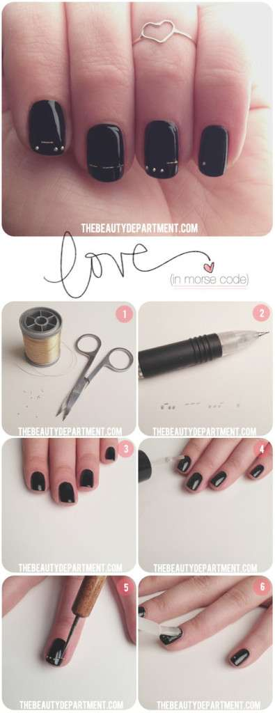 "Here's another way to do a V-day mani without splashy colors: The Beauty Department has this clever tutorial which spells ""love"" in morse code."
