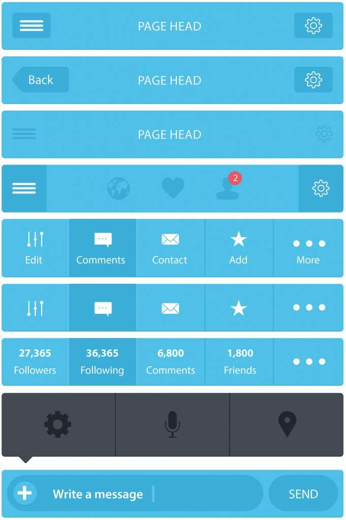 Flatastic Header Footer Icons Components Mobile Mockups