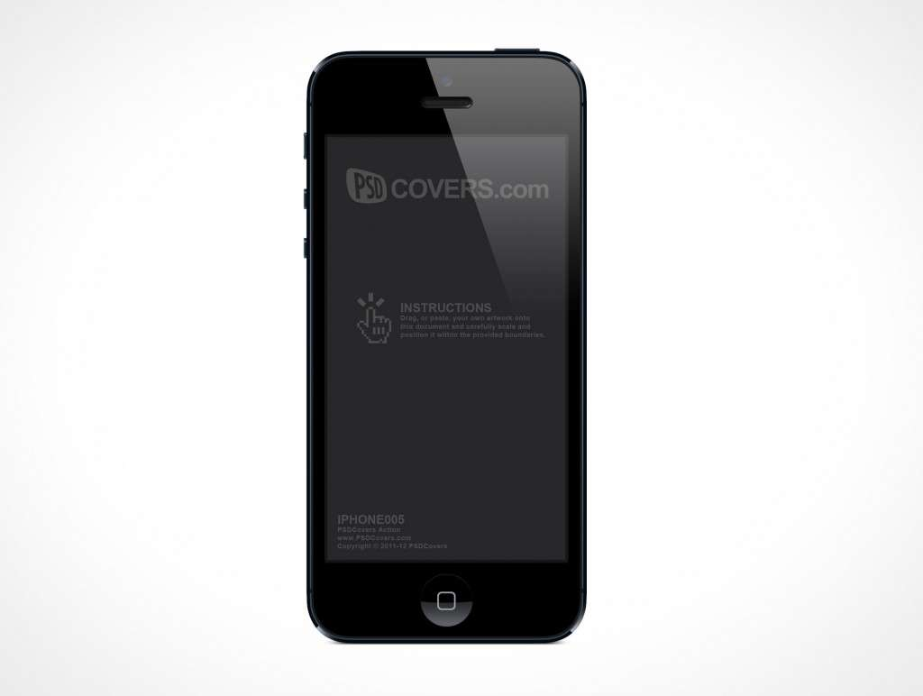 Forward Front Facing Black iPhone 5 PSD Mockup