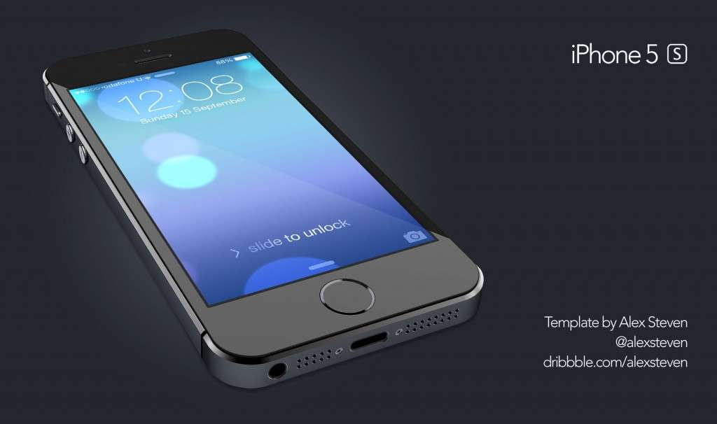 3D Glossy iPhone 5S PSD Mockup
