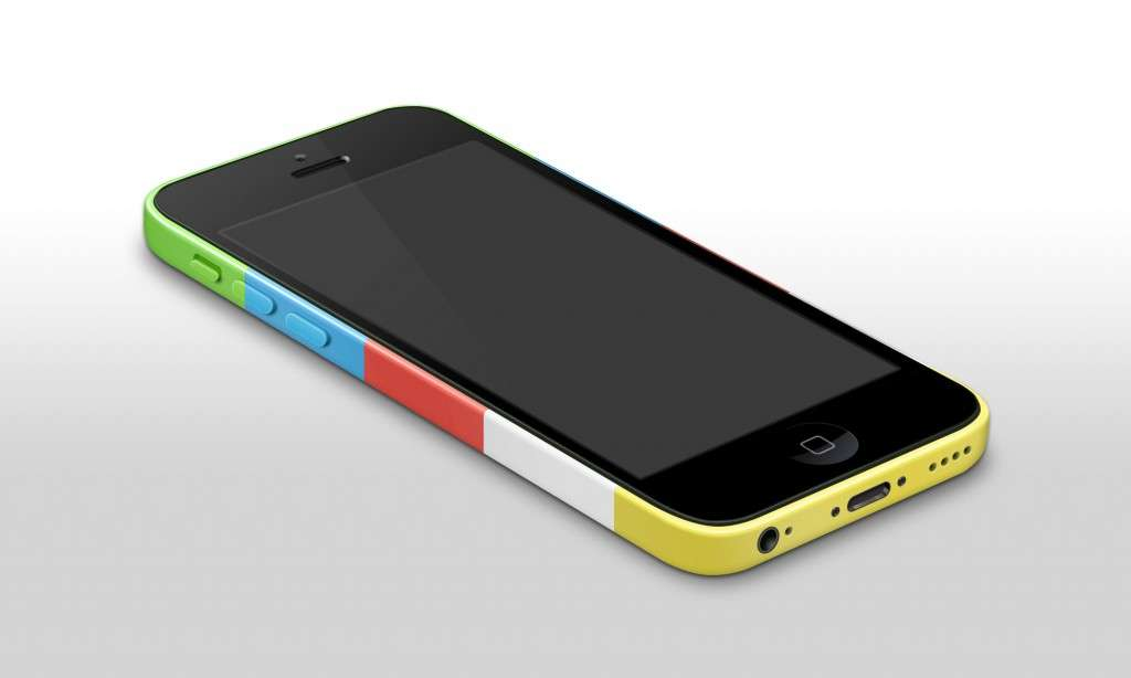 iPhone 5C Red Yellow Green Blue White Mockup Template