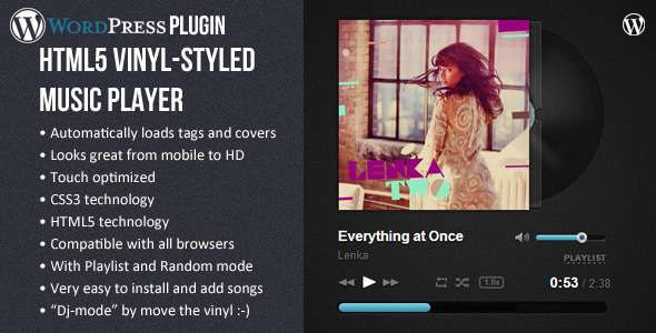 HTML5 Vinyl Music Player - WP Plugin - CodeCanyon Item for Sale