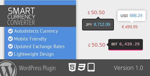 Smart Currency Converter for WordPress - CodeCanyon Item for Sale