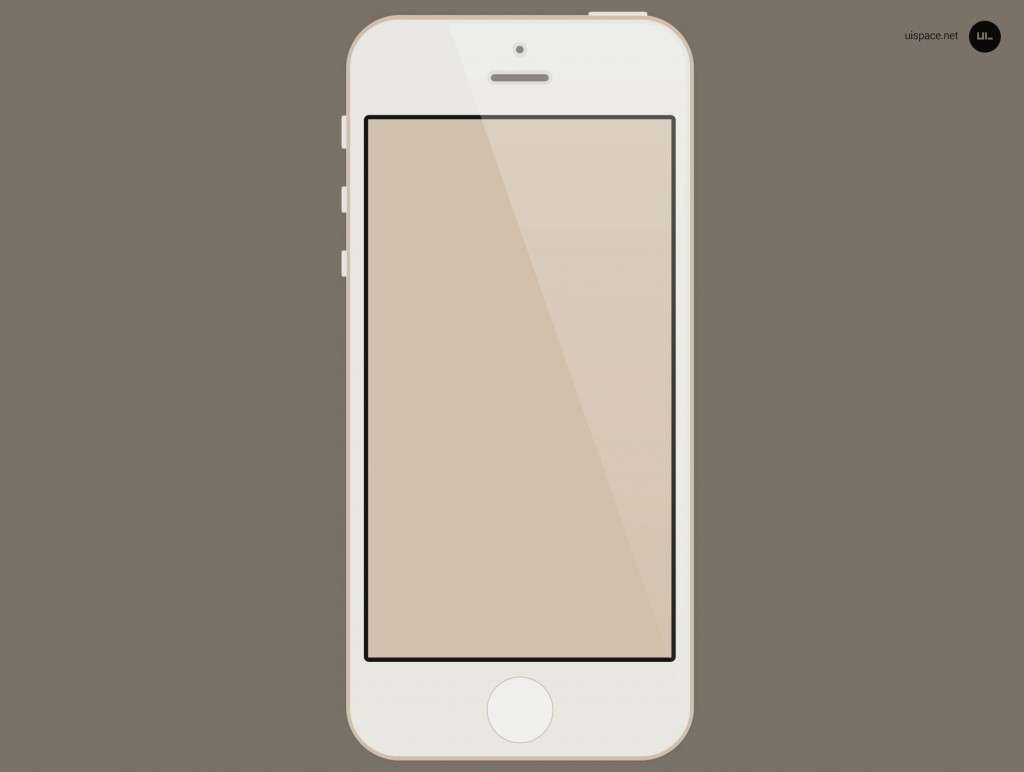 Flat Gold iPhone 5S PSD Mockup