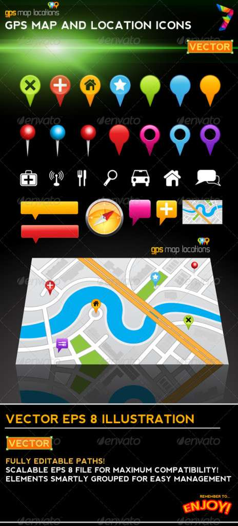 GPS Map Location Markers - Web Elements Vectors