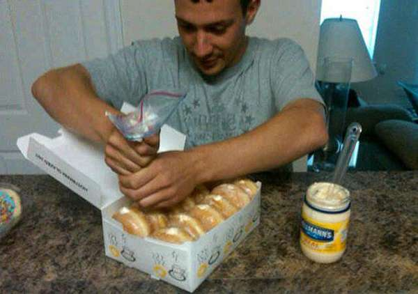 20.) Know anyone who likes jelly-filled donuts? Give them a taste of mayo-filled donuts