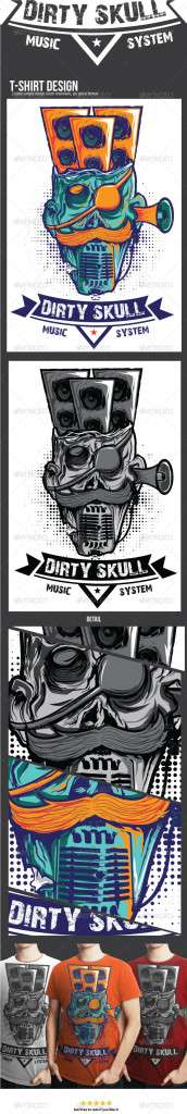 Dirty Skull Music System T-shirt Design - Designs T-Shirts